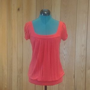 $6MMP GUC Rue21 Coral Red Princess Cap Sleeve Top